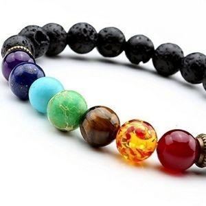 Jewelry - Lava and chakra rainbow bead stretch bracelet. NWT